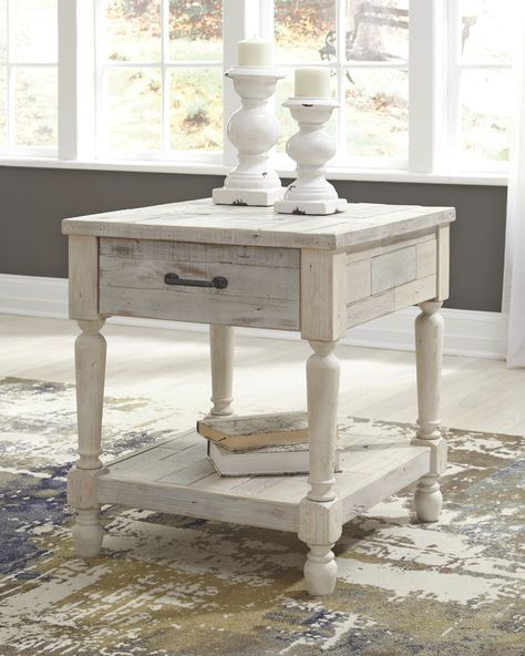 Shawnalore End Table Whitewash End Tables With Drawers White Washed Furniture Wood End Tables