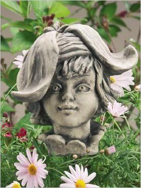 Blumenkinder Aus Stein Fur Den Garten Blutenkopf Blumenkopf Steinguss In 2021 Blumenkinder Blumen Topferarbeiten