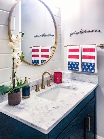 4th Of July Home Decor Ideas Coastal Bathroom Decor Home Decor Round Mirror Bathroom 4th of july bathroom decor