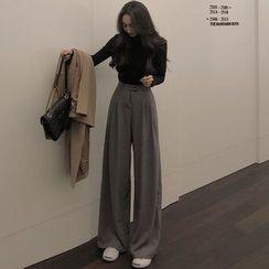 Yako High-Waist Plain Wide-Leg Pants | YesStyle