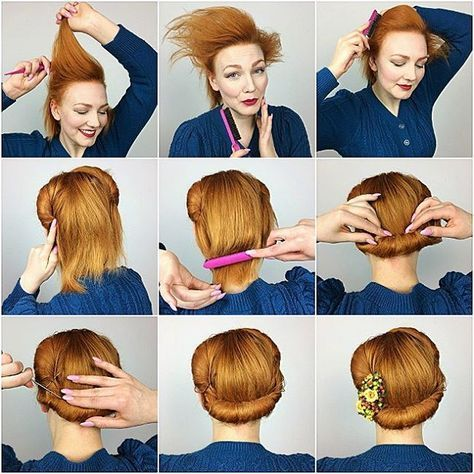 How To Get A 1940 S Hairstyle Back Roll Hairstyle In A Few Easy And Simple Steps Vintage Hairstyle Inspiration Hair Styles Vintage Hairstyles Roll Hairstyle