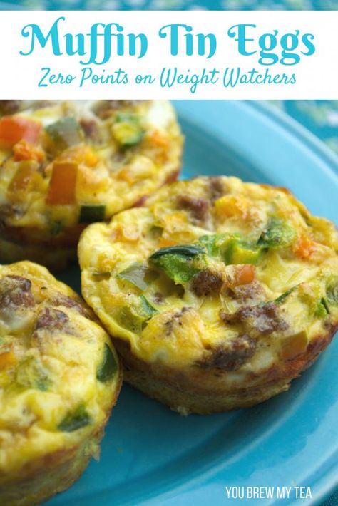 Muffin Tin Eggs are a great easy way to make breakfast! These are Zero Points on Weight Watchers FreeStyle Plan and a delicious meal option! This is a great FreeStyle Plan or Flex Plan Recipe for Weight Watchers! Only 4 SmartPoints or 4 PointsPlus on othe Weight Watcher Dinners, Menu Weight Watchers, Plats Weight Watchers, Weight Watchers Smart Points, Weight Watchers Lunches, Muffins Weight Watchers, Petit Déjeuner Weight Watcher, Weight Watchers Breakfast, Ww Recipes
