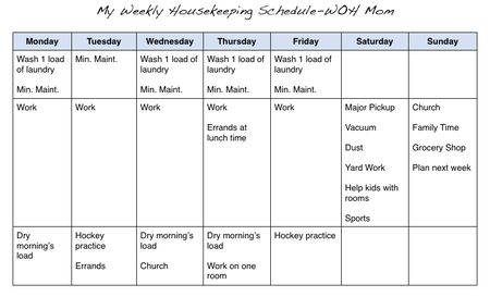 Life as a work at home mom Cleaning schedule For the Home - work schedule