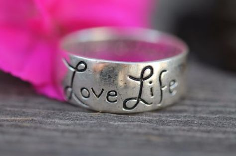 Sterling Silver Ring Stacking Stackable Band Love Life Be Brave
