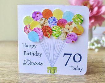 70th Birthday Card Personalised Age 70 Birthday Balloons Card Handmade Custom Personalised Mum 90th Birthday Cards Handmade Birthday Cards Birthday Cards
