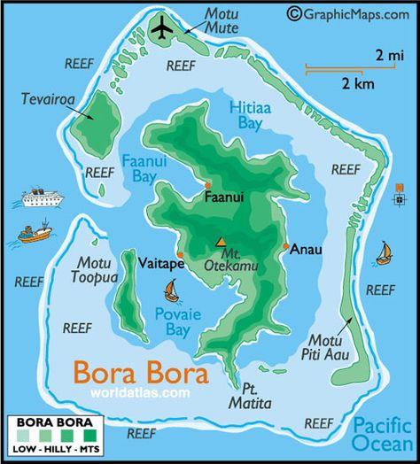 Mapa De Bora Bora Bora Bora Polinesia Francesa Playas Paradisiacas