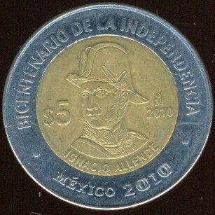 Moneda De 5 Pesos Conmemorativa Bicentenario De La Independencia Ignacio Allende 2010 Monedas Monedas De Plata Valor De Monedas Antiguas