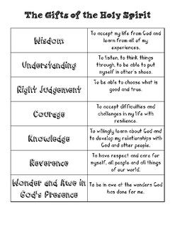 Gifts Of The Holy Spirit Matching Worksheet By Fiona B Tpt Holy Spirit Activities Bible Lessons For Kids Holy Spirit Lesson
