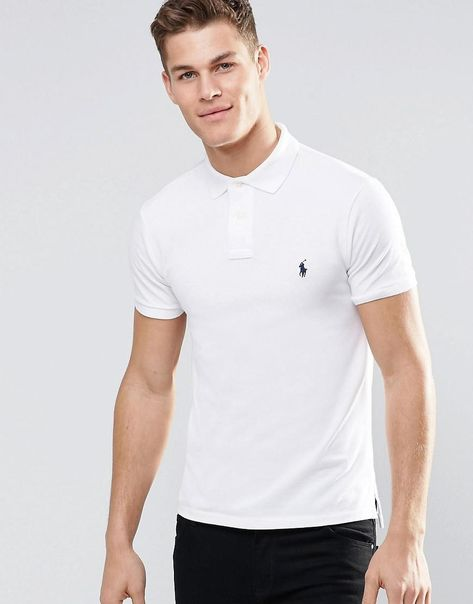 Slim Fit Polo With Logo In White - White - Polo Ralph Lauren T-shirts