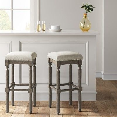 Erving Wood And Upholstered Backless Barstool Taupe Brown