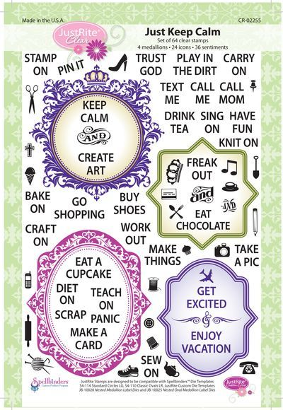 """6"""" x 8"""" Clear Stamp set which will allow you to design your own Keep Calm, Freak Out or get excited papercarfting designs.  64 Stamps in this set."""