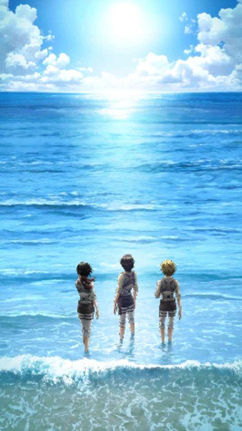Eren Jaeger • Mikasa Ackerman • Armin Arlert • Attack on Titan • Shingeki no Kyojin • Live Wallpaper