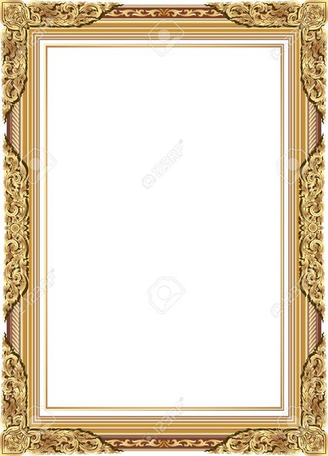 Gold photo frame with corner line floral for picture, Vector..