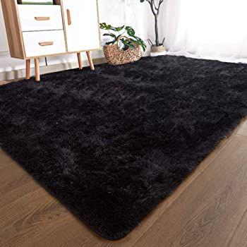 Yoh Super Soft Shag Fur Area Rug Bedroom Rugs Indoor Modern Fluffy Non Slip Accent Floor Carpet Black Carpet Living Room Bedroom Area Rug Living Room Carpet