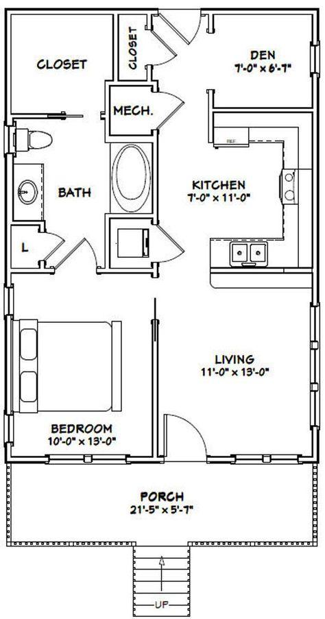 22x32 House -- 1-Bedroom 1-Bath -- 704 sq ft -- PDF Floor Plan -- Instant Download -- Model 1