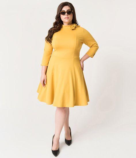 4412e7092 Unique Vintage Plus Size Mustard Yellow Knit Three-Quarter Sleeved Parker  Flare Dress