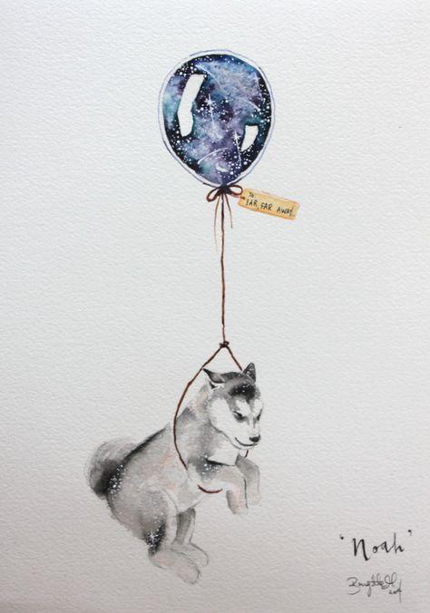 Zeichnen Malen Aquarell Hund Babyhusky In 2020 Hund Zeichnen