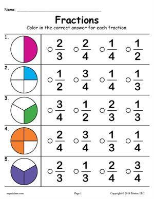 Fractions Worksheet Fractions Worksheets 2nd Grade Math Worksheets First Grade Math Worksheets