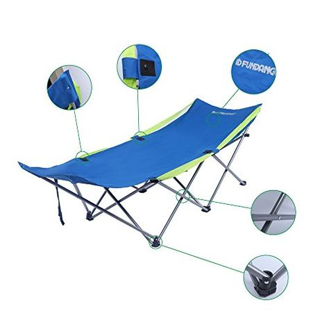 One Size Bo-Camp Stretcher with Sunscreen Lounger Black