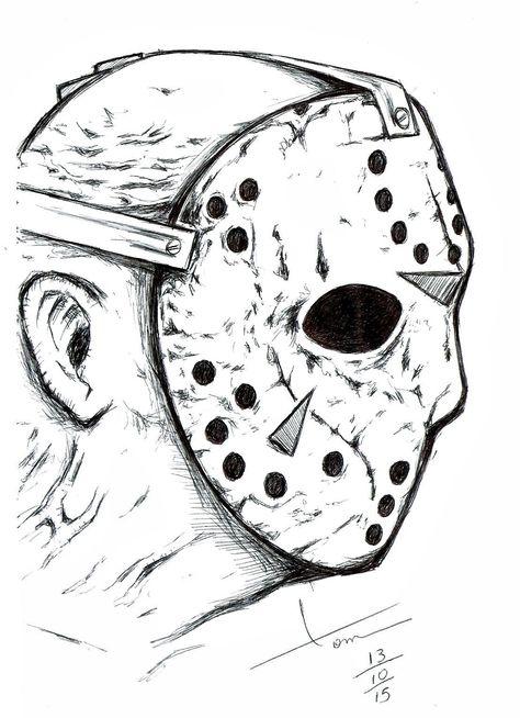 Halloween 2020 Ending Jason Voorhees Jason   Sexta Feira 13 | desenhos de lápis | Desenhos a