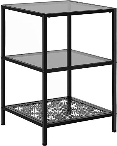 Best Seller Vasagle 3 Tier Glass Side Table Flower Pattern Robust Tempered Glass Sgs Tested Sturdy Stable Living Room Bedroom Balcony Metal Black Ulgt02bk Online Glass Side Tables Coffee Table Rectangle