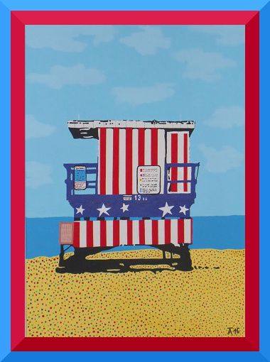 "Pop Art Poster Bilder Kunstdrucke Gemälde Leinwandbilder /""Surfers Beach/"""