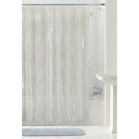 Mainstays Luminous 70 Inch X 72 Inch Clear Peva Shower Curtain