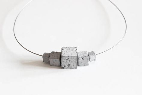 Concrete jewelry - Modular Concrete Necklace by ORTOGONALE. Geometrical, Modern jewellery, contemporary jewelry ideal as gift for architect
