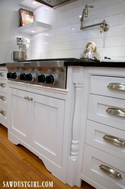 Adding Decorative Legs to Cooktop Cabinet | Kitchen cabinets ...