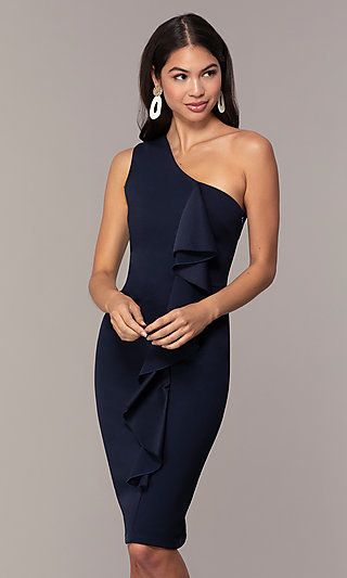 Navy Blue One Shoulder Wedding Guest Dress By Simply Blue Wedding Guest Dresses Wedding Guest Dress Trendy Party Dresses