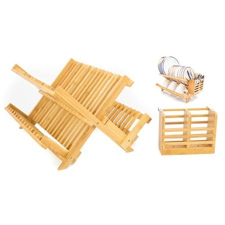 Adorn Home Bamboo Cutlery Plate Utensil Drying Dish Rack