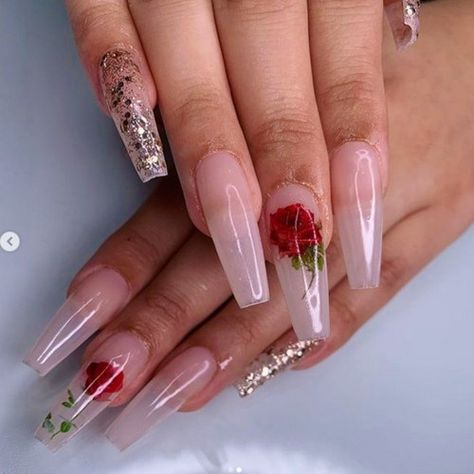 Kissed by a Rose Valentines Nails Rose Nail Art on Coffin Shaped Nails Valentines Day Nail Designs To Fall In Love With valentinesday nailart nails holidaynails naildesigns nailartdesigns valentine valentinesdaynails valentinesdaynailart