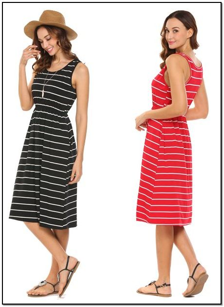 ccae77bc28998 Hount Women s Summer Sleeveless Striped Empire Waist Loose Midi Casual Dress  with Pockets.  aff link  Who doesn t love a dress with pockets !