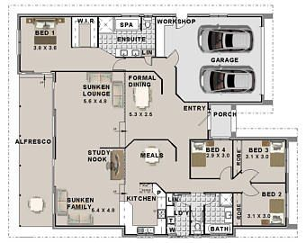 House Plans 4 Bedroom House Plans Triple Garage Home Etsy 4 Bedroom House Plans House Plans House Floor Plans
