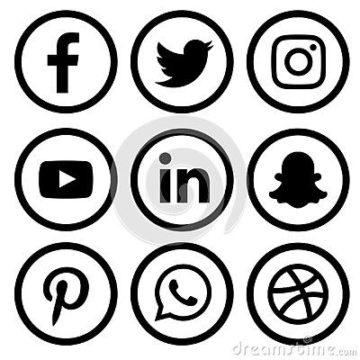 Social Media Icons Set Of Facebook Twitter Instagram Pinterest Whats App Dribble You T In 2021 Social Media Logos Black And White Instagram Facebook And Instagram Logo