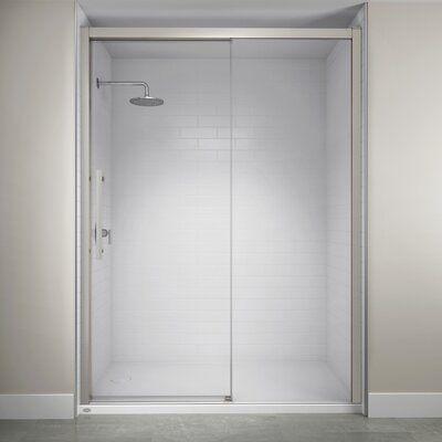 Jacuzzi 60 X 76 Single Sliding Semi Frameless Shower Door With