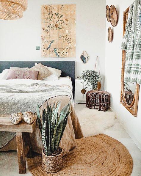 bedroom | home decor | house decoration | bohemian chic modern | plants | beige | rattan rug