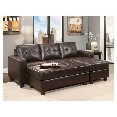 Outstanding Taylor Leather Sectional And Ottoman Espresso Abbyson Ncnpc Chair Design For Home Ncnpcorg