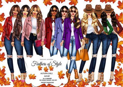 Fashion illustration, Fashionable women clipart, Fashionable girls clipart, African American clipart, Afro girls clipart, Autumn clipart
