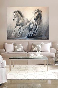 Galloping Horses- Large Canvas Horse Art- 'Gallop, Two Horses' Hand Enhanced Giclee with Acrylic paint-By Janet Ferraro