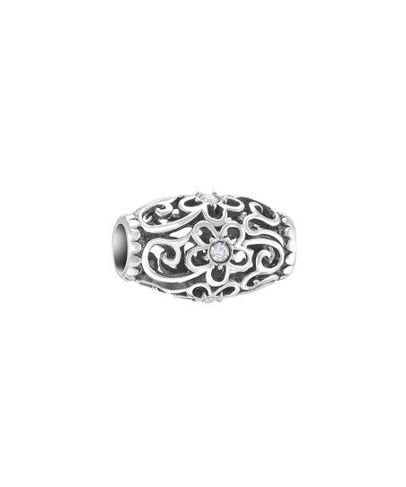 03807cfd103c2 Chamilia Sterling Silver Floral Filigree Bead Charm With Swarovski ...