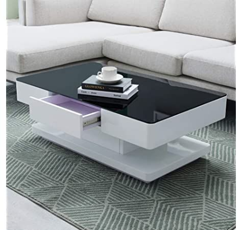Ofcasa High Gloss Coffee Table With Storage 2 Drawer Modern Black Tempered Glass Top Living Ro Living Room Table Coffee Table Design Modern Coffee Table Design Black glass living room furniture