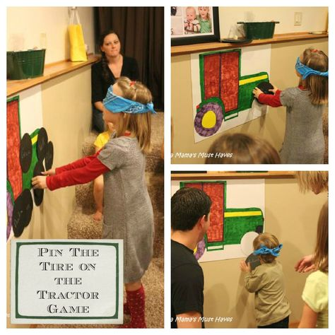 John Deere Tractor Party - Pin the Tire on the Tractor Game. Cute idea!