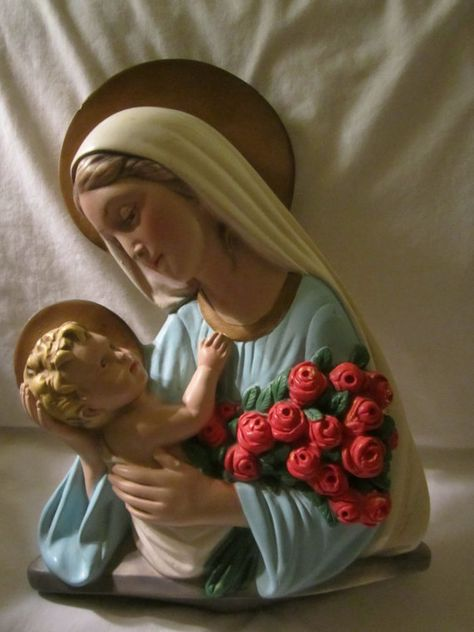 Vintage Madonna Blessed Virgin Mary Floral Container