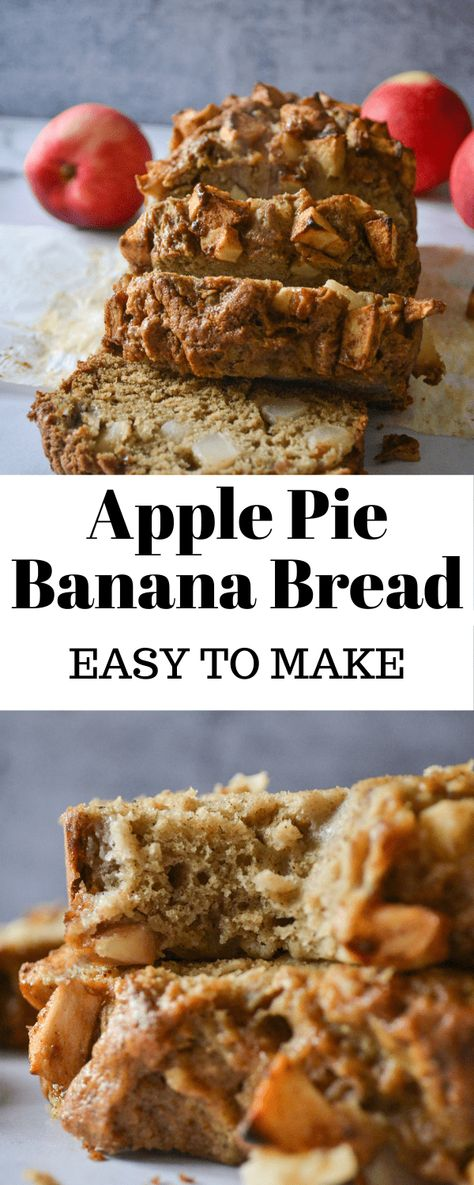 If you like Apple Pie, you're going to love this Apple Pie Banana Bread! It tastes just like Fall, is super fluffy and goes perfectly with vanilla ice cream. #ApplePie #Fall #FallBaking #BananaBread #ApplePieLoaf #FallFlavors