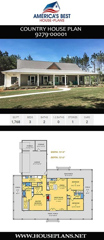 House Plan 9279 00001 Country Plan 1 768 Square Feet 3 Bedrooms 2 Bathrooms In 2020 Porch House Plans House Plans One Story House Plans Farmhouse