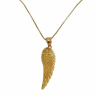Ebay Advertisement Genuine Fine 10k 10kt Yellow Gold Angel Wing Pendant With 20 Chain Pagoda 2 2 G In 2020 Pendant Pendants Precious Metals
