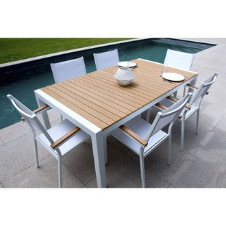 Salon de jardin 6 places Aluminium Composite : Table 180cm + 6 ...