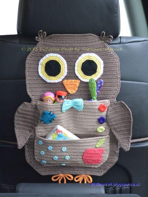 Crochet pattern Owl Treasure Organizer by ViTalinaCraft on . Crochet pattern Owl Treasure Organizer by ViTalinaCraft on… - Diy Baby Katharina Drotleff katharinadrotleff Handarbeiten Crochet patt Crochet Car, Bag Crochet, Crochet Owls, Cotton Crochet, Crochet Home, Crochet Gifts, Cute Crochet, Crochet For Kids, Crochet Patterns
