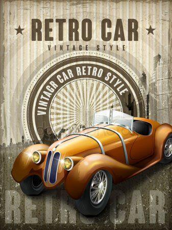 Attractive Retro Car Design Poster Stock Vector Affiliate Car Retro Attractive Design Ad
